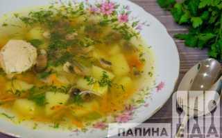 Суп курица грибы