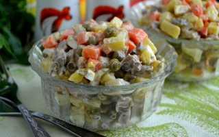Салат оливье со свининой