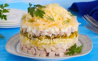 Салат с отварным мясом свинины