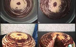 """Интересный вариант выпечки торта """"Зебра"""" в полосочку в мультиварке"""