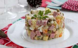 Приготовление салата оливье с колбасой