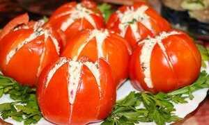 Помидоры фаршированные грибным салатом