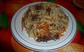 Рецепт макарон с тушенкой на сковороде