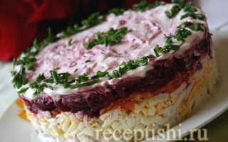 Салат мясо под шубой со свеклой