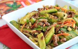 Салат веча из огурцов с мясом