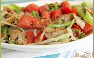Салат с стручковой фасолью и мясом