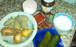 Солянка с охотничьими колбасками рецепт с фото