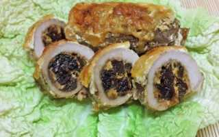 Мясо с черносливом рулетики в духовке