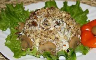 Салат мясо с грибами