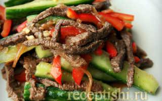 Салат корейский с огурцами и мясом