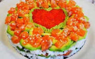 Салат суши с семгой