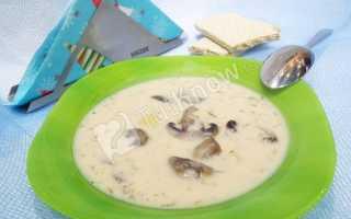 Грибной суп из вешенок с плавленным