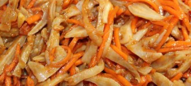 Салат из морских гребешков по корейски