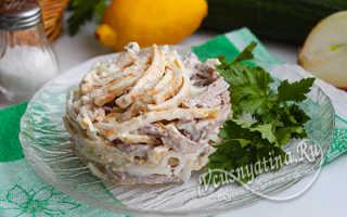 Салат с мясом говядины и маринованным луком