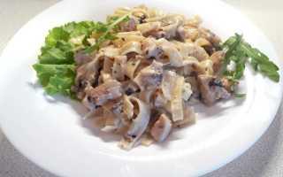 Паста с курицей и грибами самые вкусные